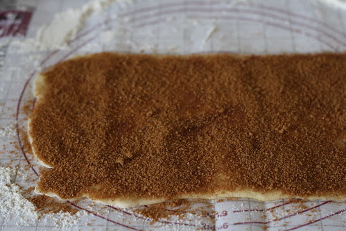 Top the dough with the cinnamon sugar