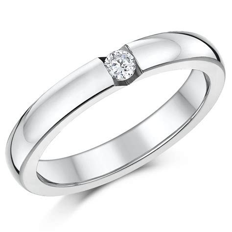 Titanium Ring CZ Stone High Polished Engagement Wedding