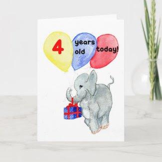 'Jumbo' 4th Birthday Card card