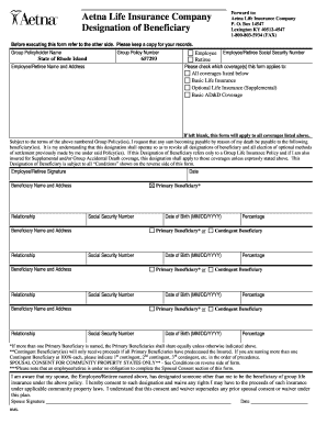 Life Insurance Beneficiary Form - Fill Online, Printable ...