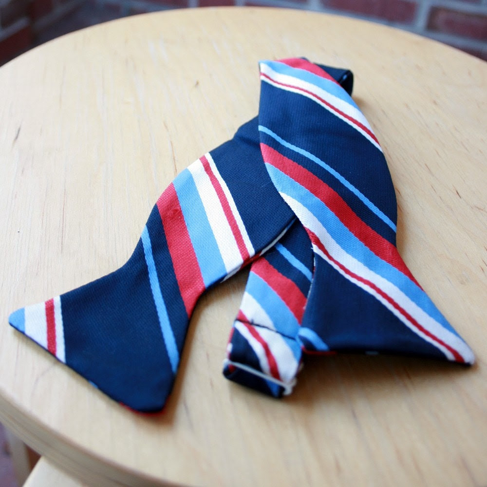Patriotic stiped bow tie- freestyle