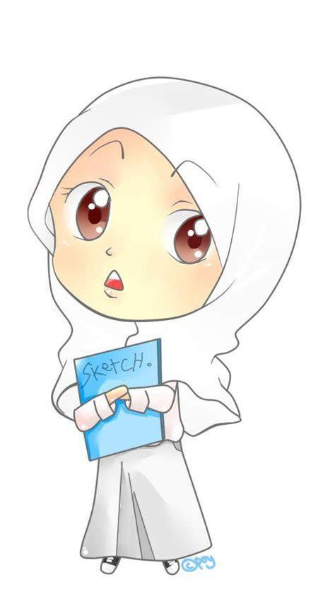 gambar kartun muslimah hijab putih kumpulan gambar unik