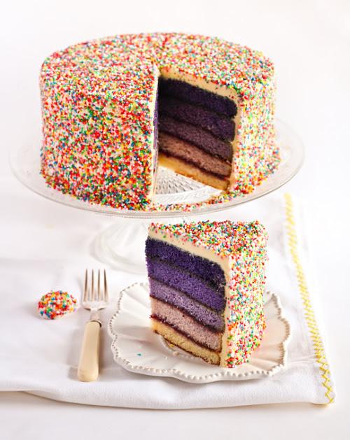 thatluciegirl:Purple Ombre Sprinkles Cake
