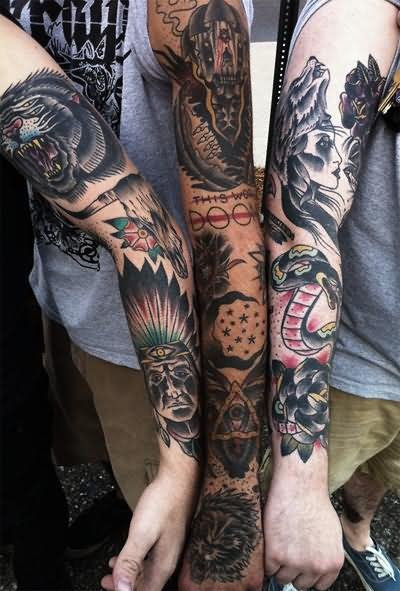 Native Indian Tattoos On Sleeve