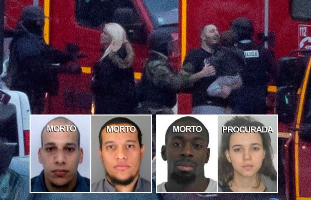 Sequestros na França acabam com  3 terroristas e 4 reféns mortos; SIGA (Michel Euler/AP; Reuters)
