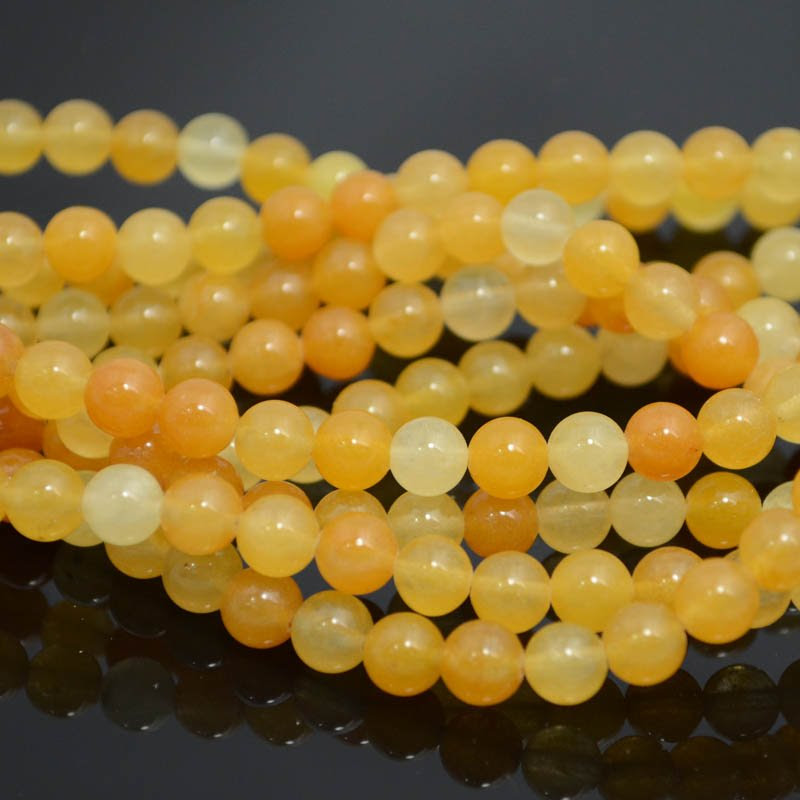 s39392 Stone Beads - 6 mm Round - Yellow Jade (strand)