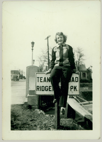 woman on a sign