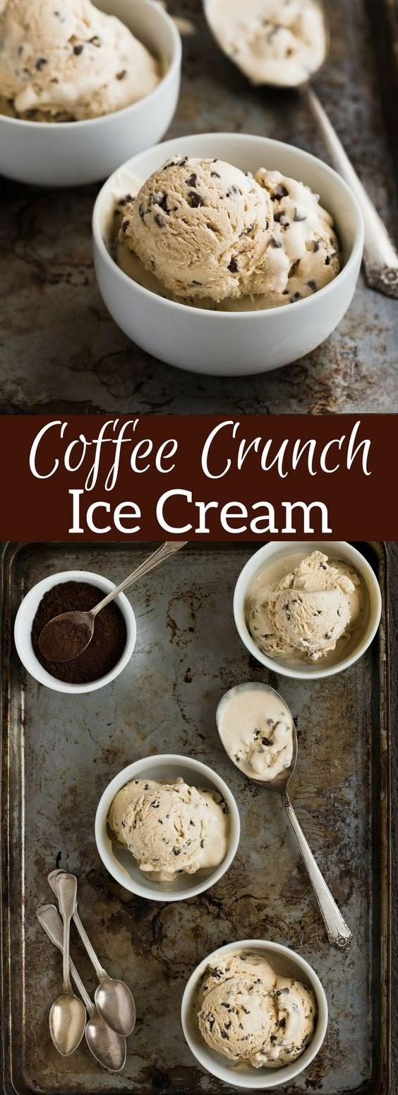 No Churn Coffee Crunch Ice Cream Recipe