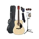 Fender CD-60 Dreadnought Acoustic Guitar Bundle with Hardshell Case, Guitar Stand, Tuner, Strap, Picks, Strings...