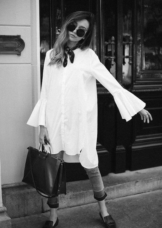 Le Fashion Blog Statement Sleeve White Shirt Skinny Jeans Square Bag Via The Fashion Cuisine