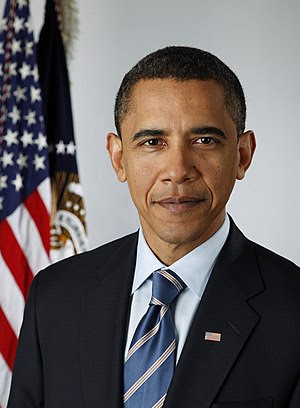 Official presidential portrait of Barack Obama...