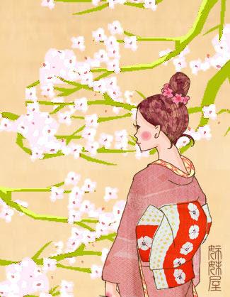 イラストとお着物見比べ江戸小紋の裂取のようなデザインプリント着物に