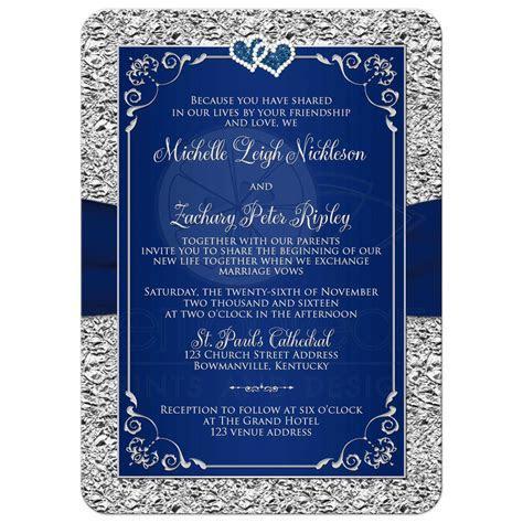 Wedding Invitation   Navy Blue, Silver   Joined Hearts