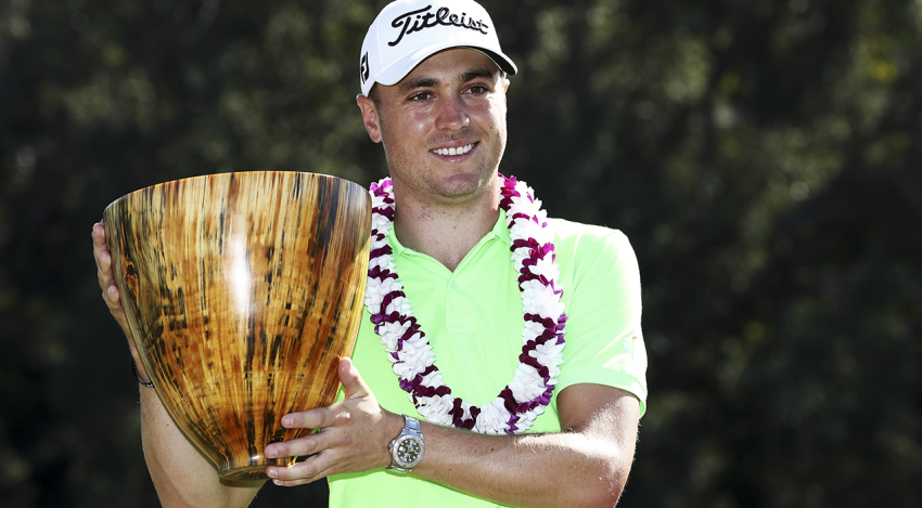 Justin Thomas with SBS trophy