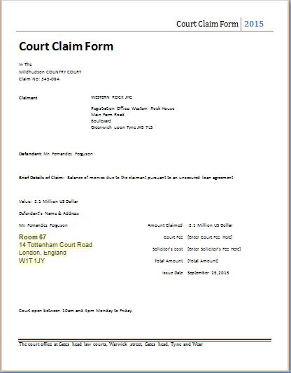 Court claim form