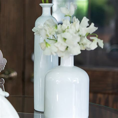 Decorative White Glass Bottle Vases in Assorted Sizes