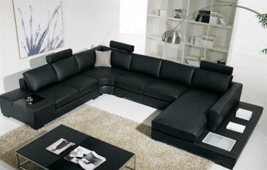 Houston - Black Bonded Leather Sectional Sofa - modern - sectional