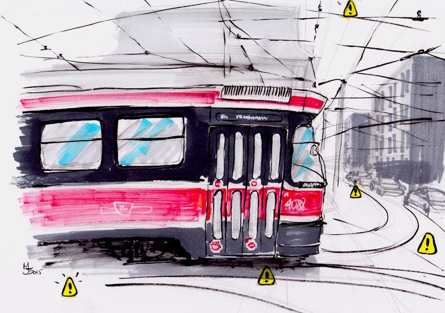 Toronto Streetcar art Dundas TTC sketch
