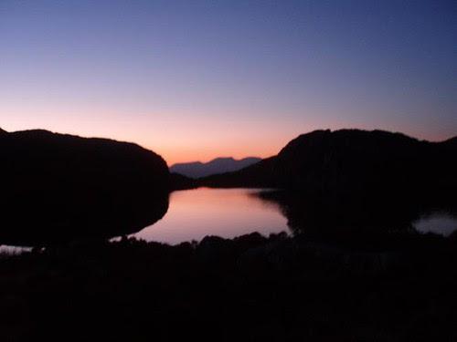 Sunset reflecting on Llyn yr Arddu