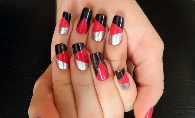 juliana leite unhas decoradas nail art formatos gerométricos unhas diferentes com adesivo2