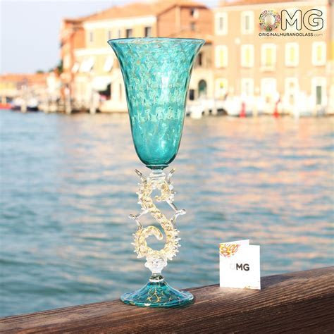 Venetian Goblet Stem Aquamarine   Teal Murano Glass