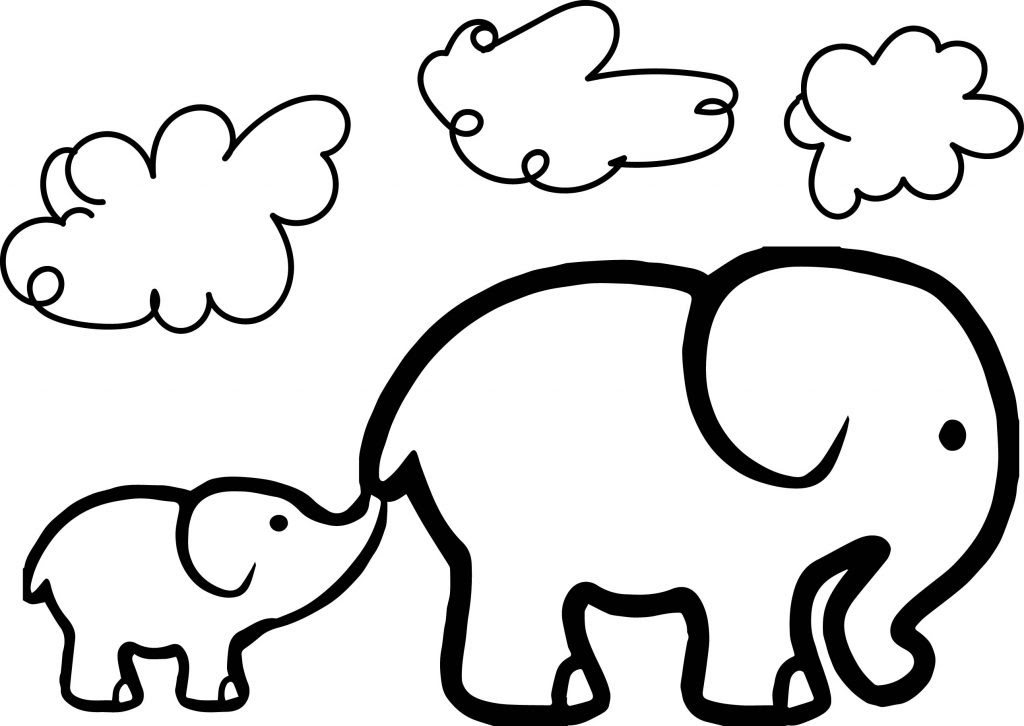Baby Elephant And Adult Elephant Coloring Page ...