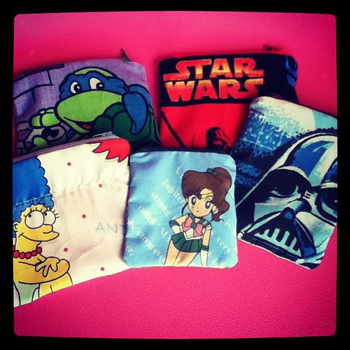 New pouches waiting to be ironed. #starwars #sailormoon #tmnt #simpsons #geek