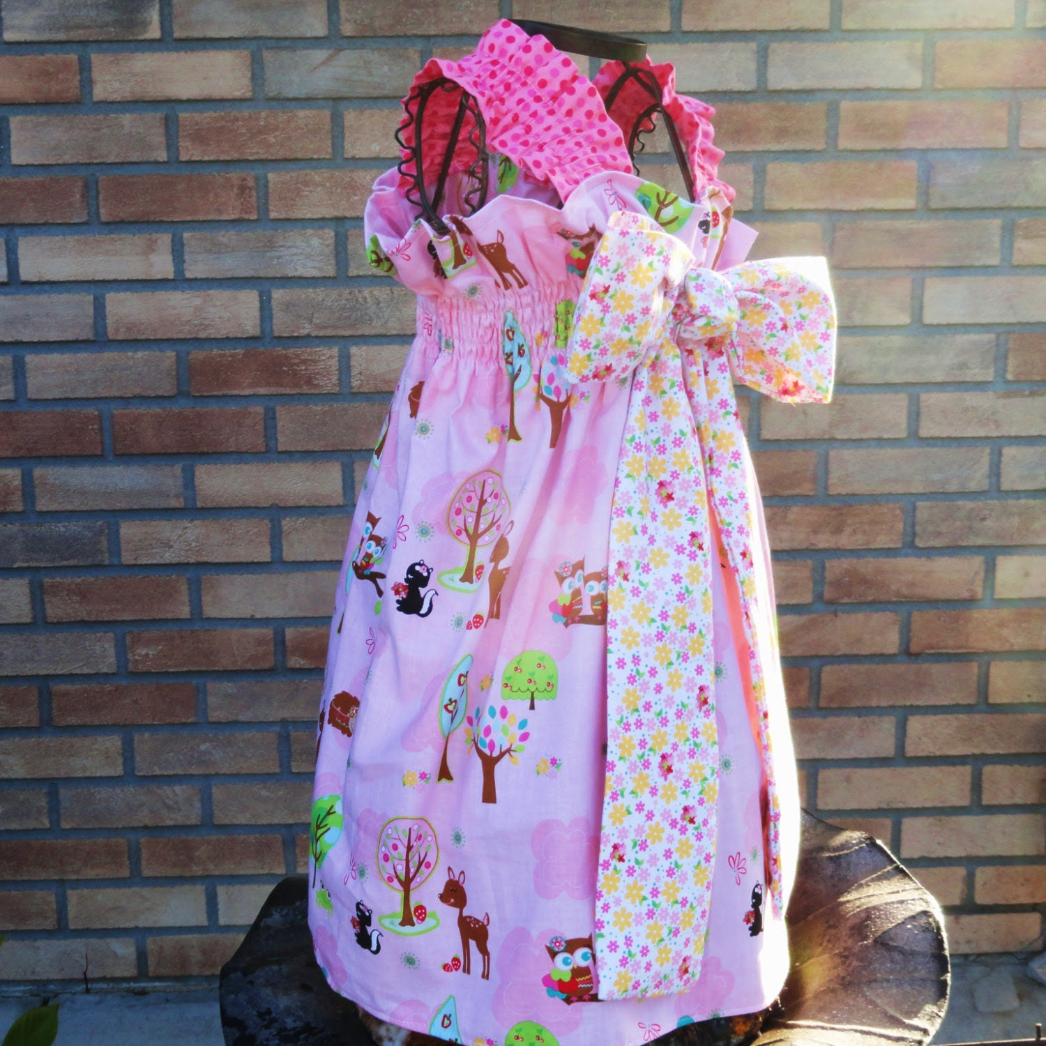 Forest Fun Summer Sundress Gathered Bow Dress for Girls 12m 18m 24m 2T 3T 4T 5 6