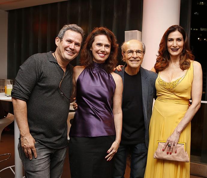 Edimilson Barros, Susana Ribeiro, Osmar Prado e Virgínia Cavendish posam juntos (Foto: Ellen Soares/Gshow)