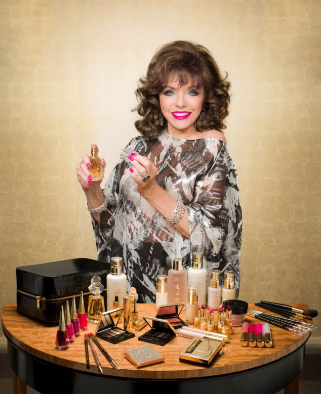 Joan Collins with her new make up collectionTimeless Beauty