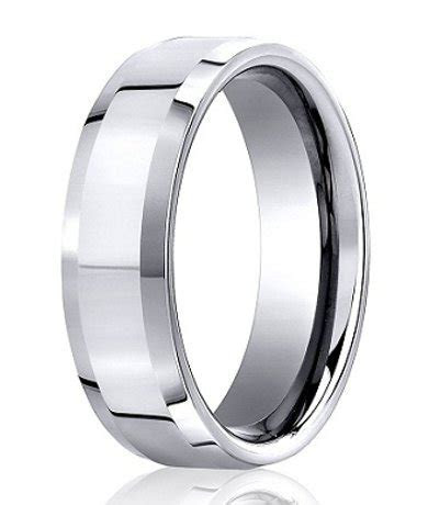 10K White Gold Wedding Band   6 mm Designer Beveled Edge