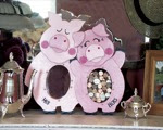 His and Hers Piggy Bank Woodworking Plan - fee plans from WoodworkersWorkshop® Online Store - piggy banks,full sized patterns,woodworking plans,woodworkers projects,blueprints,drawings,blueprints,how-to-build,MeiselWoodHobby