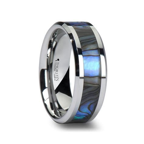 Men's Tungsten Wedding Band With Mother of Pearl Inlay
