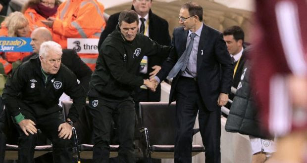 Martin O'Neill and Roy Keane shake hands after the win in the Aviva last night. Photograph: Morgan Treacy/INPHO