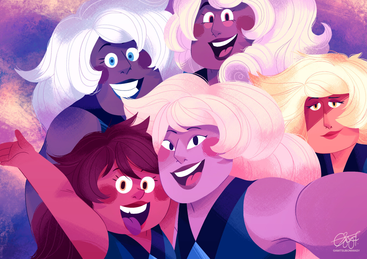 """Famethyst 4 lyf!! "" I headcanon that if they could, the famethyst would send selfies to Amethyst all the time. They're clingy & lovable"