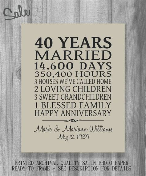 40 Year Anniversary Gift for Parents PERSONALIZE Your