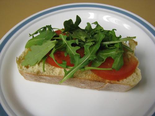 tomato and arugula down