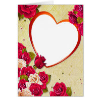 Roses and Heart Frame Add Your Photo Card