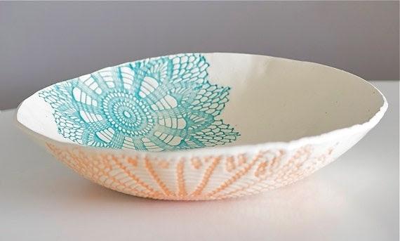 Fiesta Bowl, handmade blue orange and green