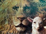 Lion and lamb clipart oil painting image for free.
