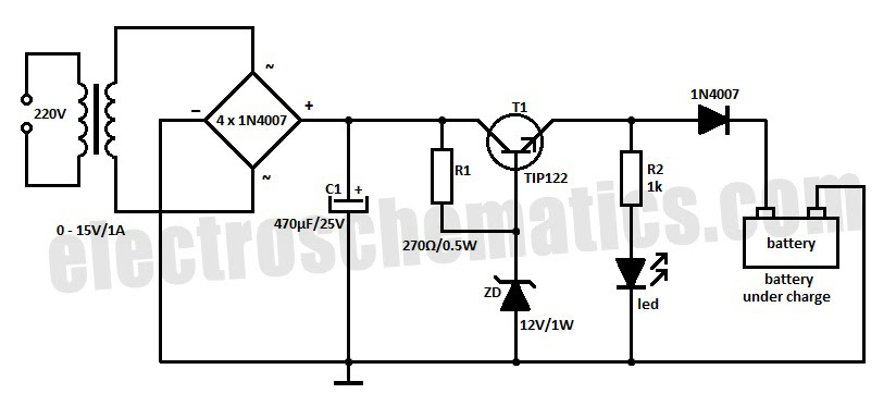 Transformerless 12v Battery Charger Circuit Circuit