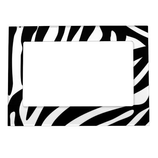 Black Zebra Print Pattern Picture Frame Magnet from Zazzle.