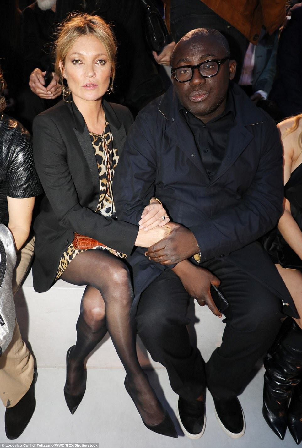 Posing up a storm:Joining proceedings were two of the fashion worlds biggest talents - Kate Moss and her pal Edward Enninful. The 43-year-old fashion great stuck to her tried-and-tested rock chic cool, in a leopard print mini with a bias-cut blazer while the editing supremo opted for classic cool in a crisp and perfectly tailored suit