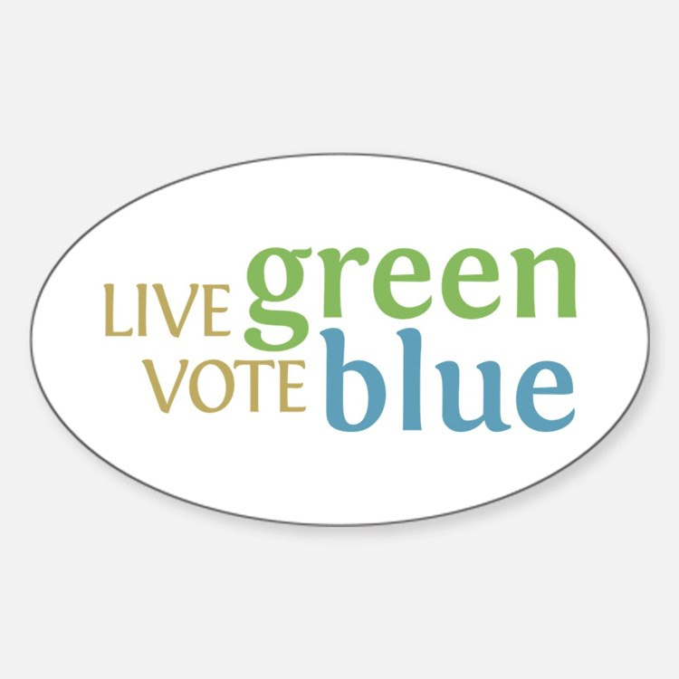 Live Green Vote Blue Oval Bumper Decal