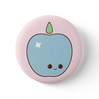Happy Blue Apple Pin button