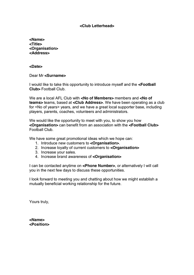 Sales Letter Template Sponsorship Proposal Letter Template