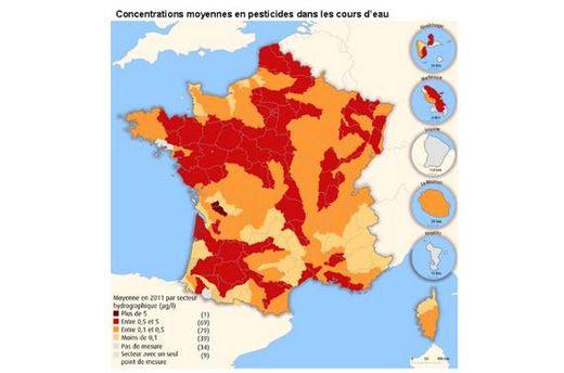 93% des fleuves français contaminés par les pesticides_MAP_Les zones les plus touchées sont les grandes régions céréalières, maraîchères ou viticoles