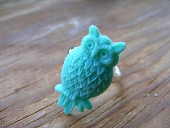 Ring Teal Green Owl