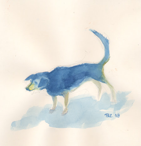Zdepski's watercolor study of his dog, Tilly