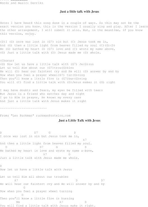 Have A Little Talk With Jesus Lyrics Gospel
